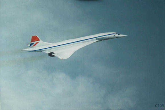 Painting of Concorde G-BOAA in original livery, on first flight