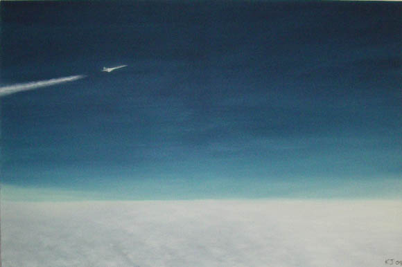 Painting of Concorde cruising at high altitude