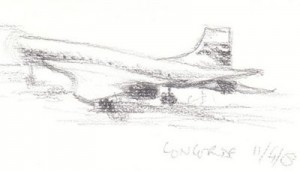 Sketch from life of Concorde at Terminal 4, Heathrow