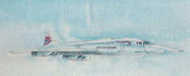 Concorde painted on silk