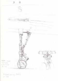 Sketch of details of G-BOAA nose leg