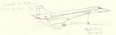 Wobbly first go at drawing Concorde from life