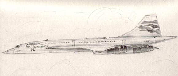 "Concorde G-BOAB drawn from life, ""in flight"""