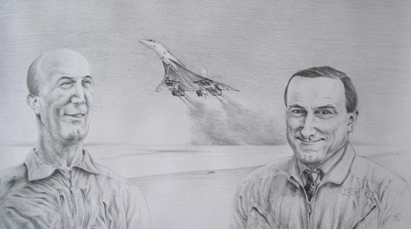 Drawing of Concorde prototype first flight with test pilots Turcat and Trubshaw