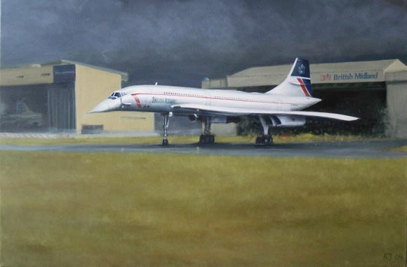 Painting of Concorde G-BOAC in Landor livery at Heathrow