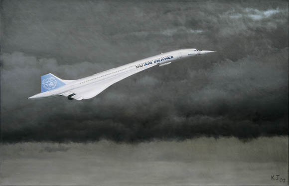 Fantasy painting of Concorde in United Nations livery