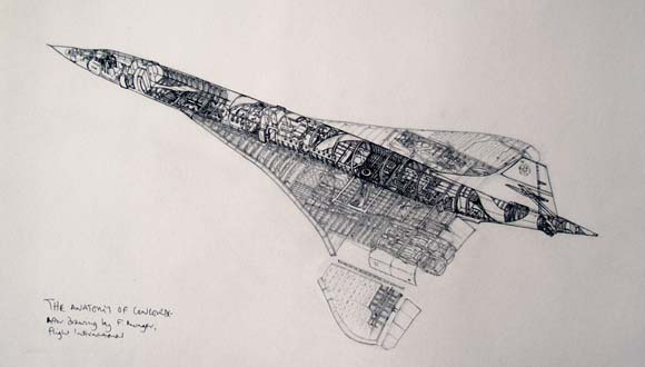 Cutaway drawing of Concorde, copied from a work by Frank Munger
